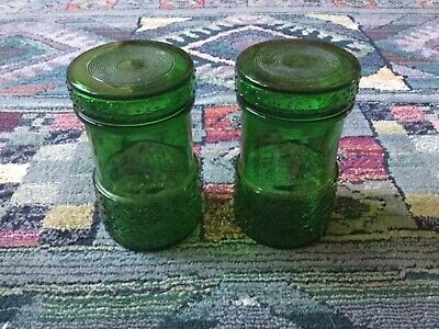 Pair retro green glass storage jars