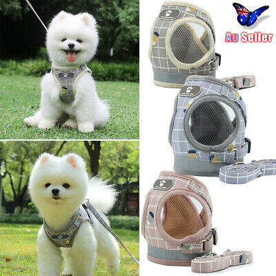 Pet Adjustable Small Walking Harness Reflective Strap Vest Dog Lead and Cat AU