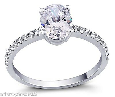 Clear Oval Shaped Cubic Zirconia Solitaire Ring With Pave Setting Sterling 925