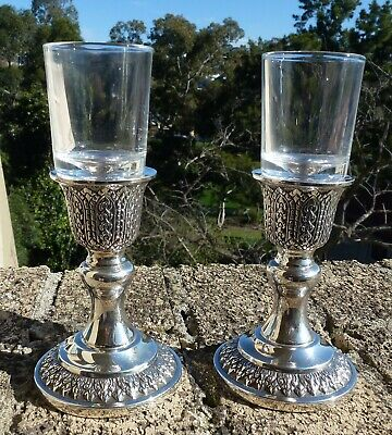Sterling Silver Candle Holders With Glass Inserts, Beautiful Condition