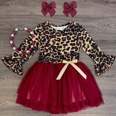 Toddler Baby Girls Kids Party Princess Leopard Dress Casual Tutu Dresses Clothes