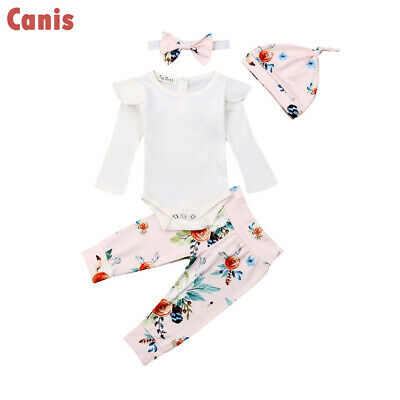 UK Newborn Baby Girls Cotton Floral Romper Pants+Hat Headband Outfits Clothes