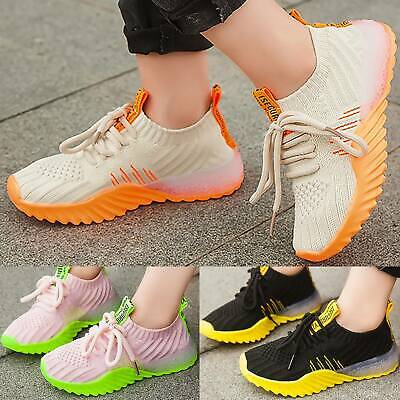Kids Girls Boys Mesh Breathable Shoes Casual Sports Non Slip Lace Up Sneakers