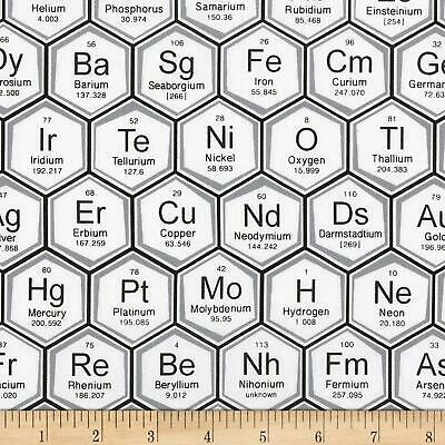 Robert Kaufman Science Fair fabric Periodic table white FAT QUARTERS - metres