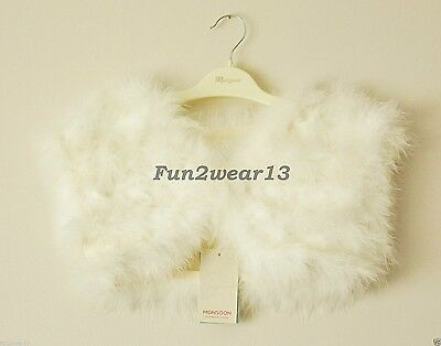 BNWT MONSOON GIRLS IVORY FEATHER MARABOU CAPE STYLE BOLERO SHRUG 12-13 Yrs DRESS