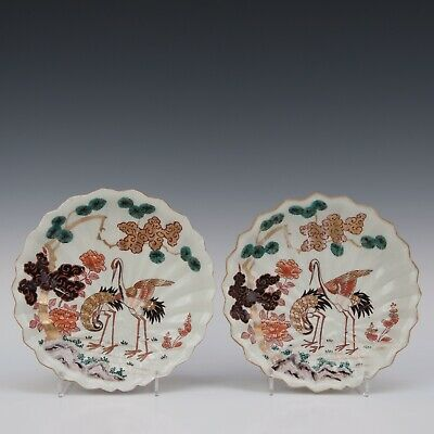 Nice pair of Japanese porcelain plates, cranes, 19th ct.