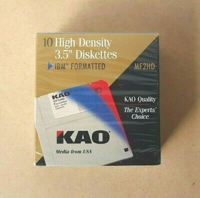 "Brand New - 10x Kao High Density 3.5"" Disk Diskettes MF2HD 1.44MB IBM Formatted"
