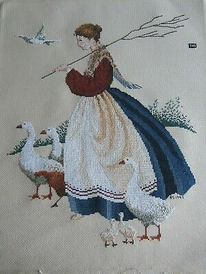 Butternut Road Completed Cross stitch  FEATHERS & FRIENDS Girl with Geese