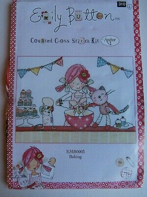 Emily Button BAKING counted cross stitch  Kit NEW