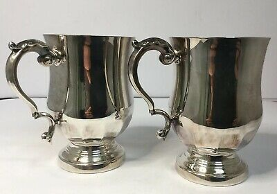 2 x Half pint Silver Plated / Silver Metal/ Silver ? Unmarked 1/2 Pint Tankards