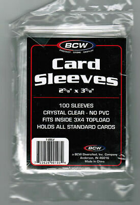 BCW Suave Sleeves 100CT Sports Baseball Fútbol Baloncesto (2-5 / 8X 3-5/8) Neu