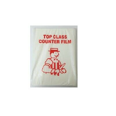 Pack of 1000 Counter Film Sheets 10x15'' HDPE Butchers Deli Cellophane