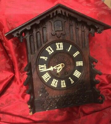 Large Antique  Mantel Cuckoo Clock Signed For Restoration