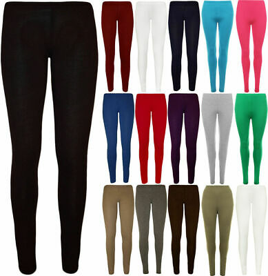 Girls Leggings Plain Viscose Full Length Kids 2-13 Years Stretchy Dance Ballet