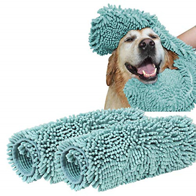 Turquoize Ultra Absorbent Dog Towel Super Shammy with Hand Pockets Microfiber by