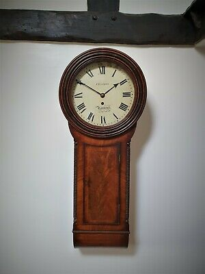 A Good Sized Flame Mahogany Tavern Clock By Yarmouth Maker 'Christmas' C1800