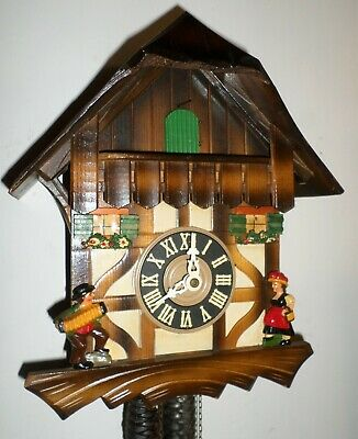 Very Nice German Black Forest Wood Mountain Chalet Unusual Serenade Cuckoo Clock