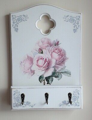 Gothic Style Letter Rack Key Holder Decoupaged With Beautiful Rose Design