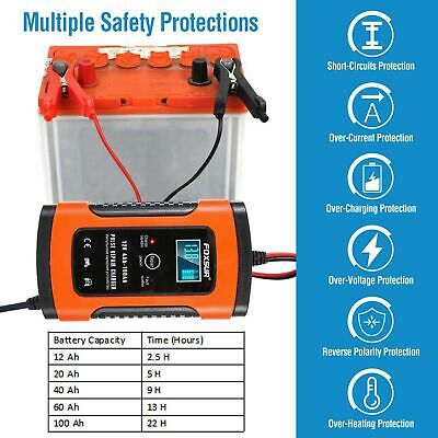 12V Automatic Fast Smart Car Battery Charger SUV Van Motorcycle Repair Fix Pulse