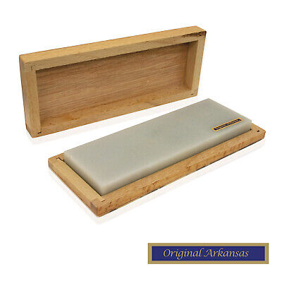 Genuine Arkansas Natural Knife Sharpening Stone in Wooden Box