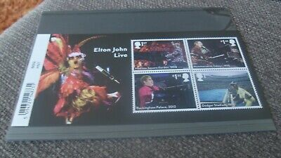 NEW 2019 - ELTON JOHN LIVE - Mini Sheet Mint - WITH BARCODE MARGIN - GB STAMPS