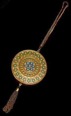 MAGNIFICENT Antique ****JEWELED & ENAMEL CHATELAINE**** COMPACT w TASSEL WoW!!!!