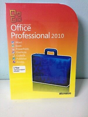 Microsoft Office 2010 Professional For 3 PCs Full Retail NEW -32/64 bit