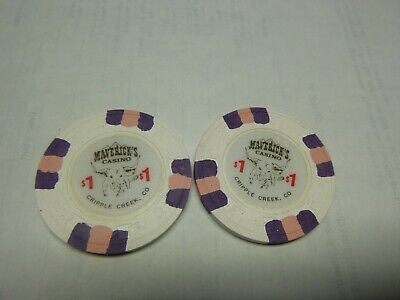 #43 Casino Chip} Mavericks- Cripple Creek Colo- Lot Of 2