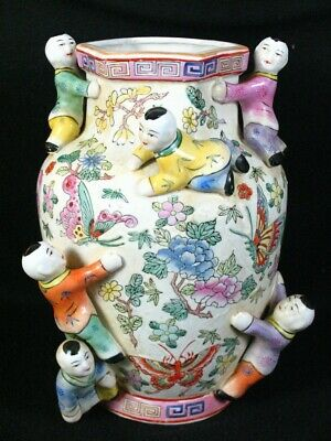 Vintage Chinese Fertility Vase with Flowers Butterflies Climbing Children Boys