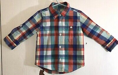 Baby Gap Toddler Boy's Sz 2T Shirt Long Sleeve Button Down Checked Chest Pocket
