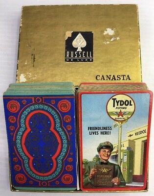 VINTAGE TYDOL FLYING A GASOLINE PLAYING CARDS VEEDOL GAS STATIONS (W/Extra Cards