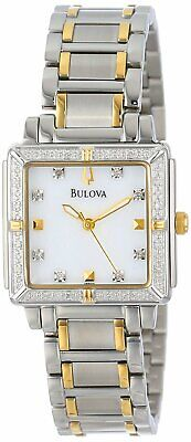 Bulova Women's 98R112 Quartz Square Crystal Accent Two-Tone Bracelet 25mm Watch