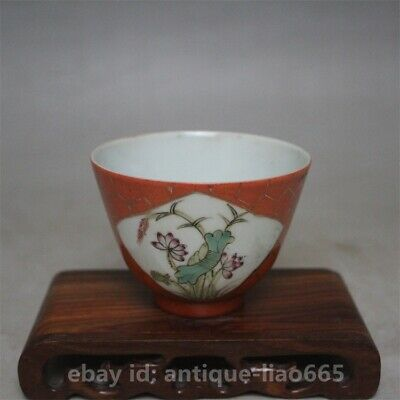 78MM Collect Old Chinese Famille-rose Porcelain Lotus Flower Plum Blossom Teacup