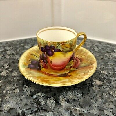 Aynsley All Fruit Demitasse Cup and Saucer SIGNED (D. Jones)