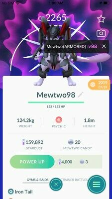 Pokemon Go Legendary Armored Mewtwo (Weather Boosted)