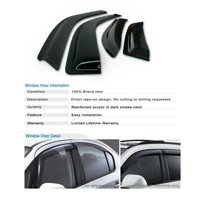 Polycarbonate Injection Window Visor Vent Wind Deflector For 08-12 Ford Escape