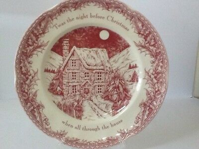 """Large Johnson Bros. """" TWAS The Night Before Xmas"""" Serving Plate / New"""
