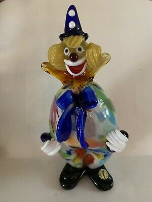"Vintage 9.5""  MURANO Venetian CLOWN Italian Blown Art Glass Italy Sommerso"