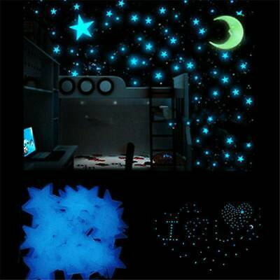 100X Glow in the Dark Star and Moon Set Sticker With Stick Pad For Wall Ceiling