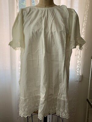 Antique White Cotton & Lace Girl Child Dress Edwardian Victorian