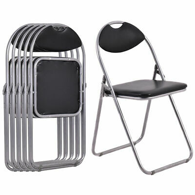 6 PCS U Shape Folding Chairs Furniture Home Outdoor Picnic Portable Black