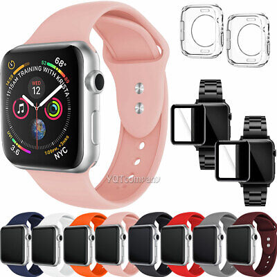 For Apple Watch Band 40mm 42mm 44mm 38mm Strap With Clear Case Screen Protector