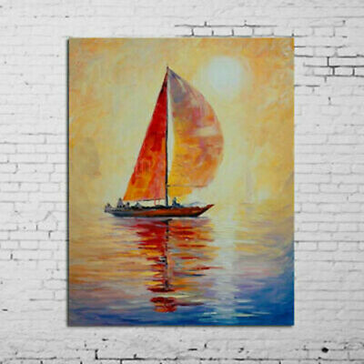 Hand-painted Bright Sun Sailing Boat Seascape oil painting on canvas NO Frame