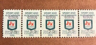 Vintage S & H Green Stamps, Row Of 5 Stamps, 1 2/3 Mills, 62BUG-55
