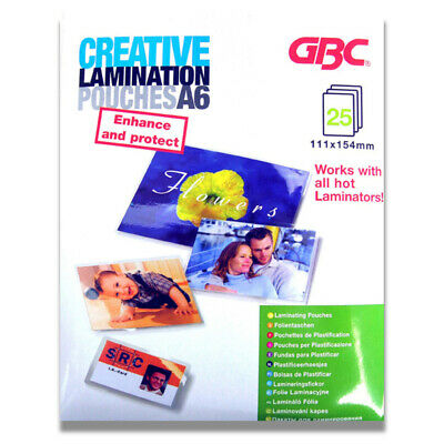 25pc GBC Creative Office 15.4cm A6 Laminating Pouches 125 Micron for Laminator