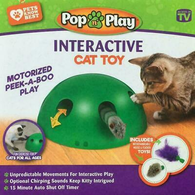 Automatic Pop,N' Play Interactive Motion Cat Toy Mouse Tease Electronic Pet US