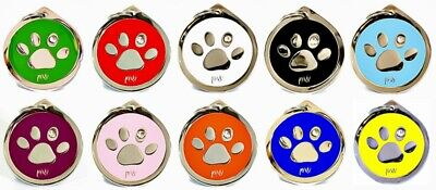 Personalised Pet Dog Cat ID Identity Collar Tags Discs PAW Design FREE DELIVERY