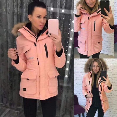 Womens Quilted Padded Coat Winter Warm Fur Collar Hooded Jacket Parka Outwear