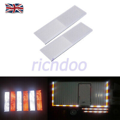 2x Self Adhesive Oblong Rectangular Trailer Caravan Reflectors White 150x50mm UK