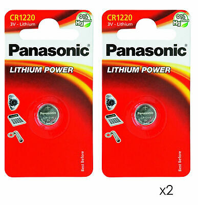 2 x Pansonic CR1220 3V Lithium Coin Cell Battery 1220 DL1220 BR1220 2028 Exp
